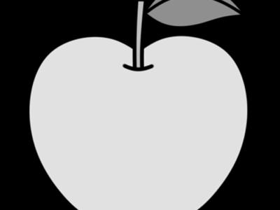 りんご 白黒フリー素材