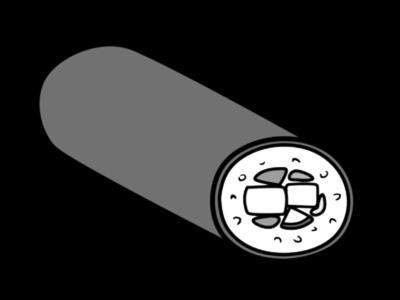 恵方巻き イラスト 斜め 左向き 節分 白黒フリー素材