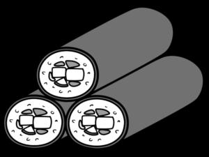 恵方巻き3本 イラスト 斜め 右向き 節分 白黒フリー素材