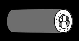 恵方巻き イラスト 横向き 左 節分 白黒フリー素材