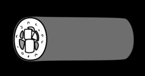 恵方巻き イラスト 横向き 右 節分 白黒フリー素材