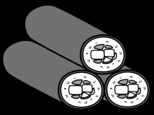 恵方巻き3本 イラスト 斜め 左向き 節分 白黒フリー素材
