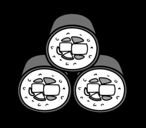 恵方巻き3本 イラスト 正面 節分 白黒フリー素材