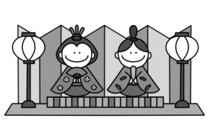 お雛様とお内裏様 白黒フリー素材 雛人形 ひな祭りイラスト