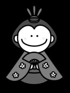 お雛様 白黒フリー素材 雛人形 ひな祭りイラスト