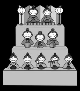 雛人形 白黒フリー素材 ひな祭りイラスト