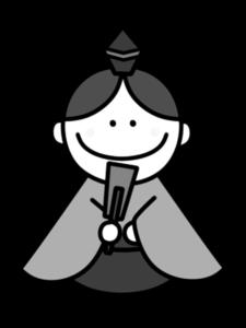 五人囃子 白黒フリー素材 雛人形 ひな祭りイラスト