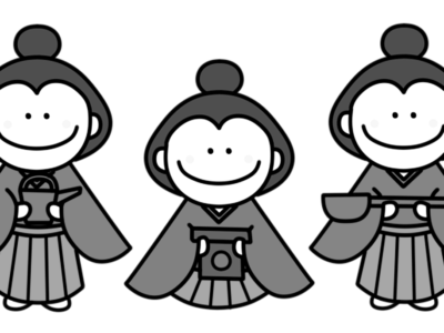 三人官女 白黒フリー素材 雛人形 ひな祭りイラスト