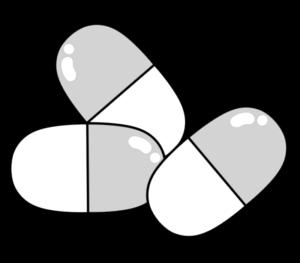 カプセル くすり イラスト 白黒フリー素材