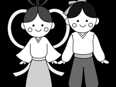 織り姫 彦星 七夕イラスト 白黒フリー素材