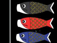 鯉のぼり3匹 フリー素材 こどもの日イラスト