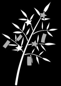 笹の葉 七夕イラスト 短冊 白黒フリー素材