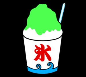 かき氷 フリー素材 夏祭りイラスト 緑 メロン 抹茶