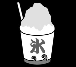 かき氷 白黒フリー素材 夏祭りイラスト