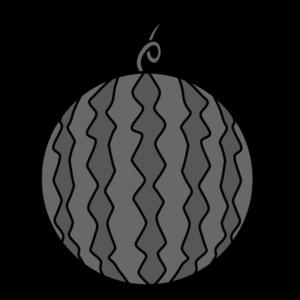 スイカ 白黒フリー素材