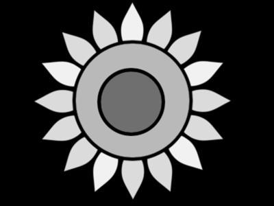 ひまわり 白黒フリー素材 夏