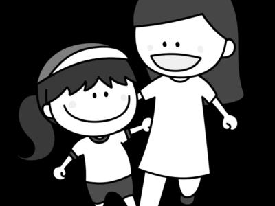 二人三脚 親子 白黒フリー素材 運動会イラスト 女の子 お母さん 紅組