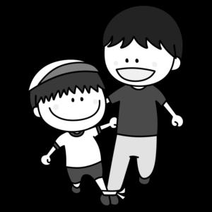 二人三脚 親子 白黒フリー素材 運動会イラスト 男の子 お父さん 白組