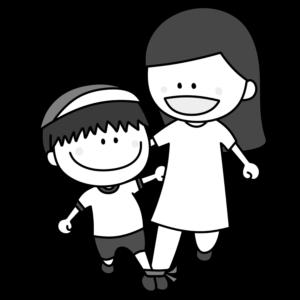 二人三脚 親子 白黒フリー素材 運動会イラスト 男の子 お母さん 紅組