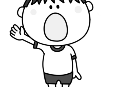 選手宣誓 白黒フリー素材 運動会イラスト 男の子 紅組