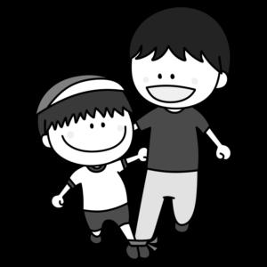 二人三脚 親子 白黒フリー素材 運動会イラスト 男の子 お父さん 紅組