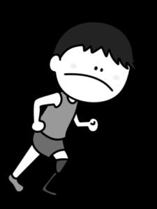 義足ランナー 男性選手 白黒フリー素材 パラリンピックイラスト