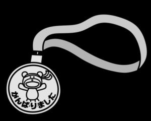 運動会 メダル 白黒フリー素材 幼稚園・保育園