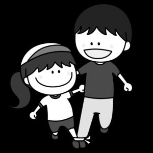 二人三脚 親子 白黒フリー素材 運動会イラスト 女の子 お父さん 白組