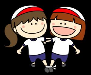 二人三脚 フリー素材 運動会イラスト 女の子 白組