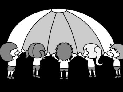 パラバルーン 幼稚園・保育園 運動会 白黒フリー素材