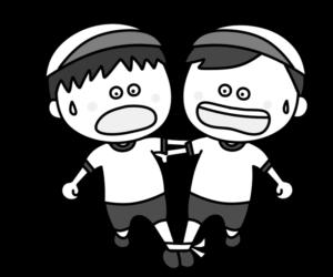 二人三脚 白黒フリー素材 運動会イラスト 男の子 白組