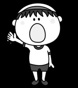 選手宣誓 白黒フリー素材 運動会イラスト 男の子 白組
