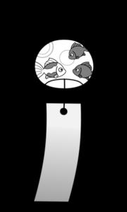 風鈴 白黒フリー素材 夏イラスト 金魚