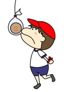 パン食い競争 フリー素材 運動会イラスト 男の子 紅組