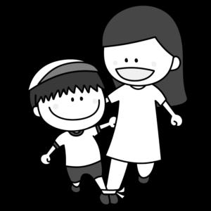 二人三脚 親子 白黒フリー素材 運動会イラスト 男の子 お母さん 白組