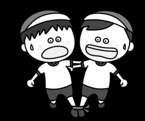 二人三脚 白黒フリー素材 運動会イラスト 男の子 紅組