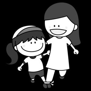 二人三脚 親子 白黒フリー素材 運動会イラスト 女の子 お母さん 白組