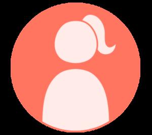 アイコン デフォルト風 女性 赤 フリー素材