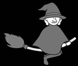 魔女 白黒フリー素材 ハロウィン