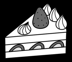 ショートケーキ 白黒フリー素材