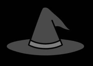 魔女の帽子 白黒フリー素材 ハロウィンイラスト