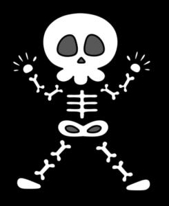 ガイコツ フリー素材 白黒 ハロウィン 骸骨