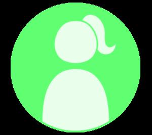 アイコン デフォルト風 女性 緑 フリー素材