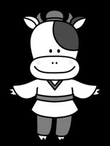 牛 白黒フリー素材 七夕 彦星