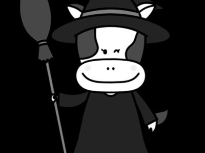 牛 白黒フリー素材 ハロウィン 魔女
