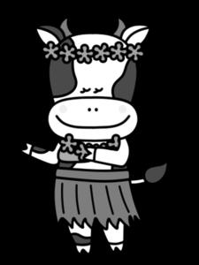 牛 白黒フリー素材 夏 フラダンス