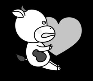 牛 白黒フリー素材 バレンタイン