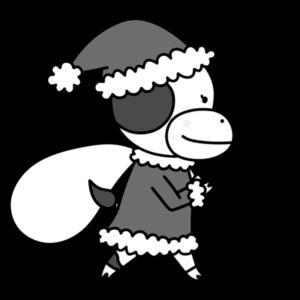 牛 白黒フリー素材 クリスマス サンタクロース
