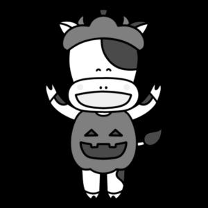 牛 白黒フリー素材 ハロウィン ジャック-・オー・ランタン かぼちゃ