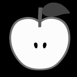 りんご 白黒フリー素材 カット 断面